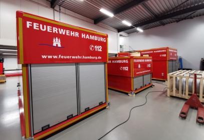 Brandweercontainers ontwikkeld voor de Hamburg Haven Autoriteit